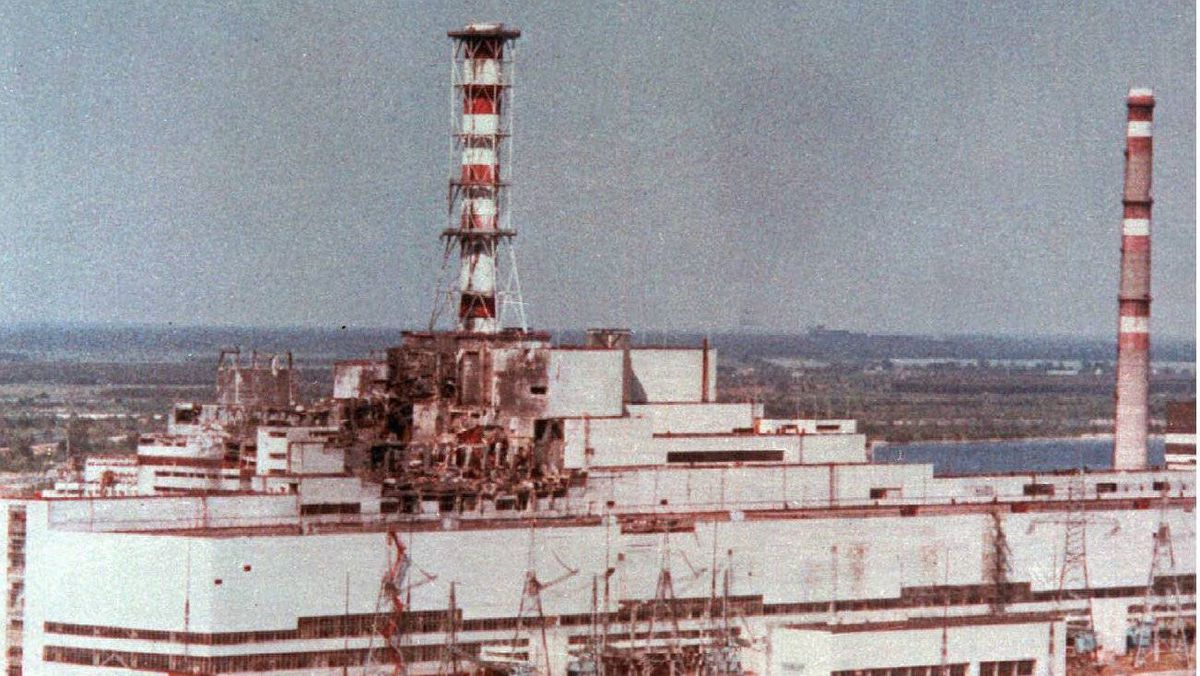 This is a 1986 aerial view of the Chernobyl nuclear plant in Chernobyl, Ukraine showing damage from an explosion and fire on April 26, 1986 that sent large amounts of radioactive material into the atmosphere.