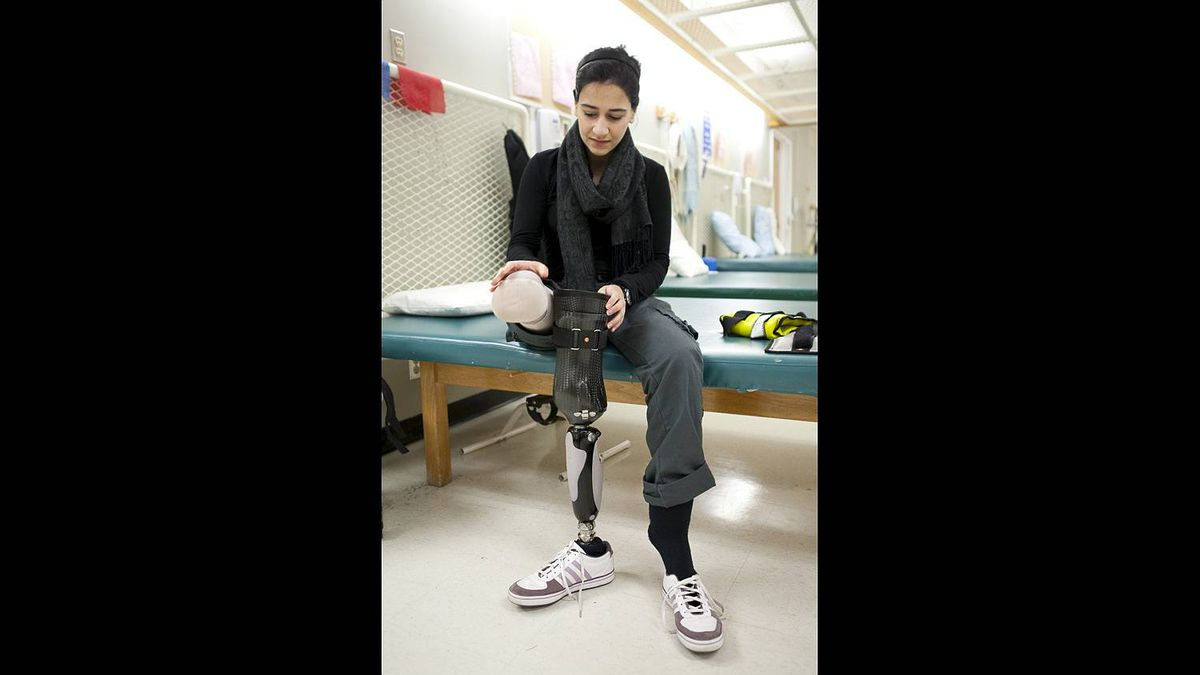 Bushra Saeed works through her daily physiotherapy routine at the Rehabilitation Centre in Ottawa on Dec. 2, 2010.