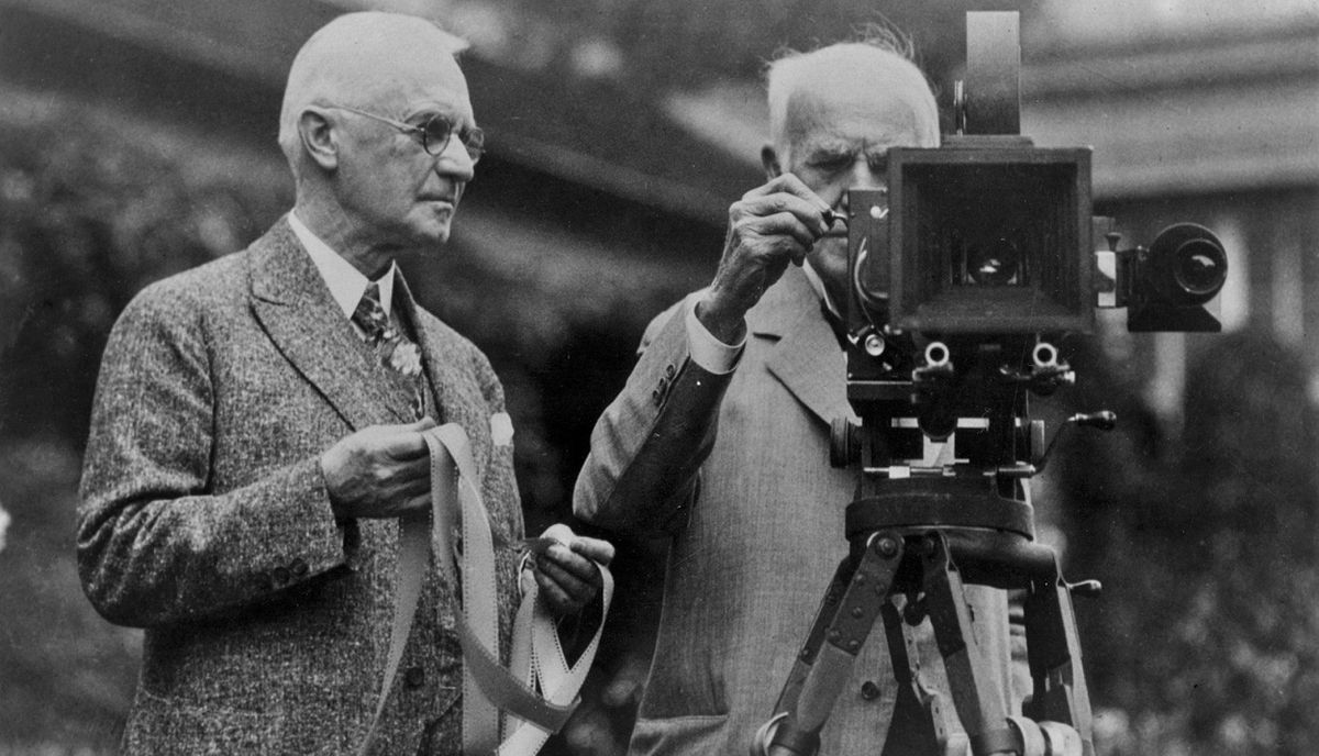 George Eastman (L), founder of the Eastman Kodak Company, is shown with fellow inventor Thomas Edison, in this undated publicity photograph from the George Eastman House International Museum of Photography and Film's press site. Eastman Kodak Co, which invented the hand-held camera and helped bring the world the first pictures from the moon, has filed for bankruptcy protection January 19, 2012, capping a prolonged plunge for what remains one of America's best-known companies. The 130-year-old photographic film pioneer, which had tried to restructure to become a seller of consumer products like cameras, said it had also obtained a $950 million, 18-month credit facility from Citigroup to keep it going.