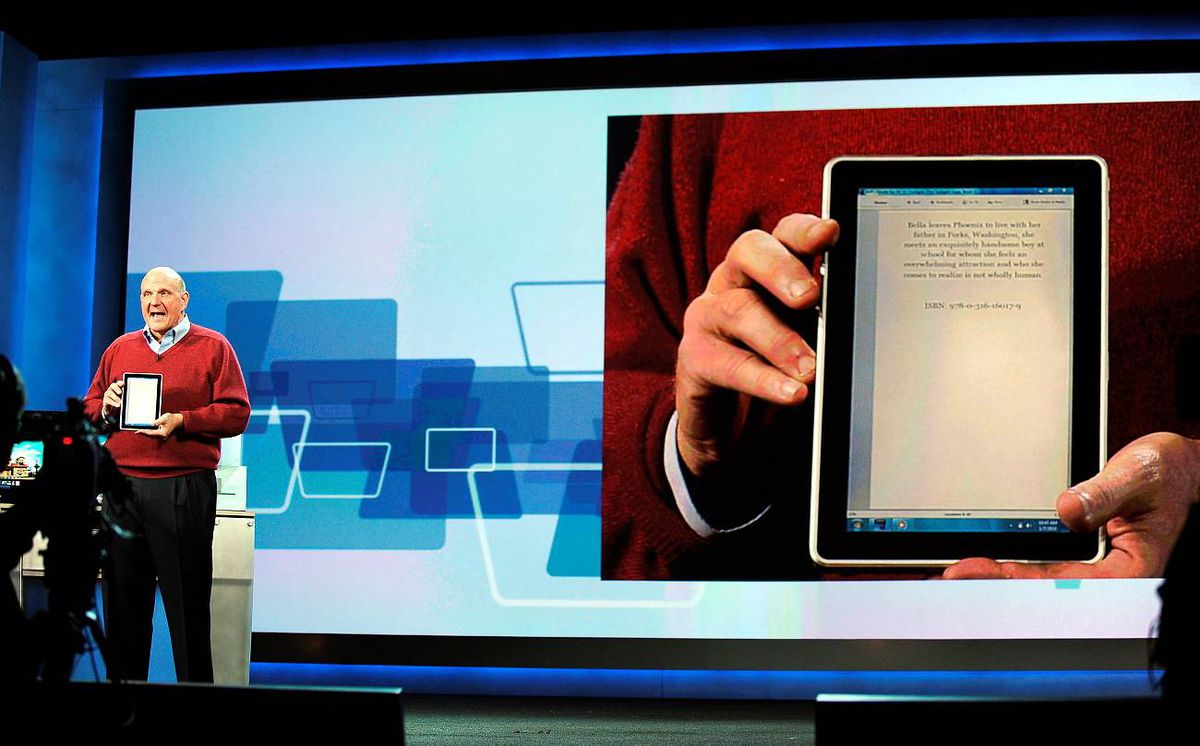 Microsoft CEO Steve Ballmer shows the new HP Slate computer and e-reader during his keynote address at the 2010 International Consumer Electronics Show in Las Vegas, Nevada.
