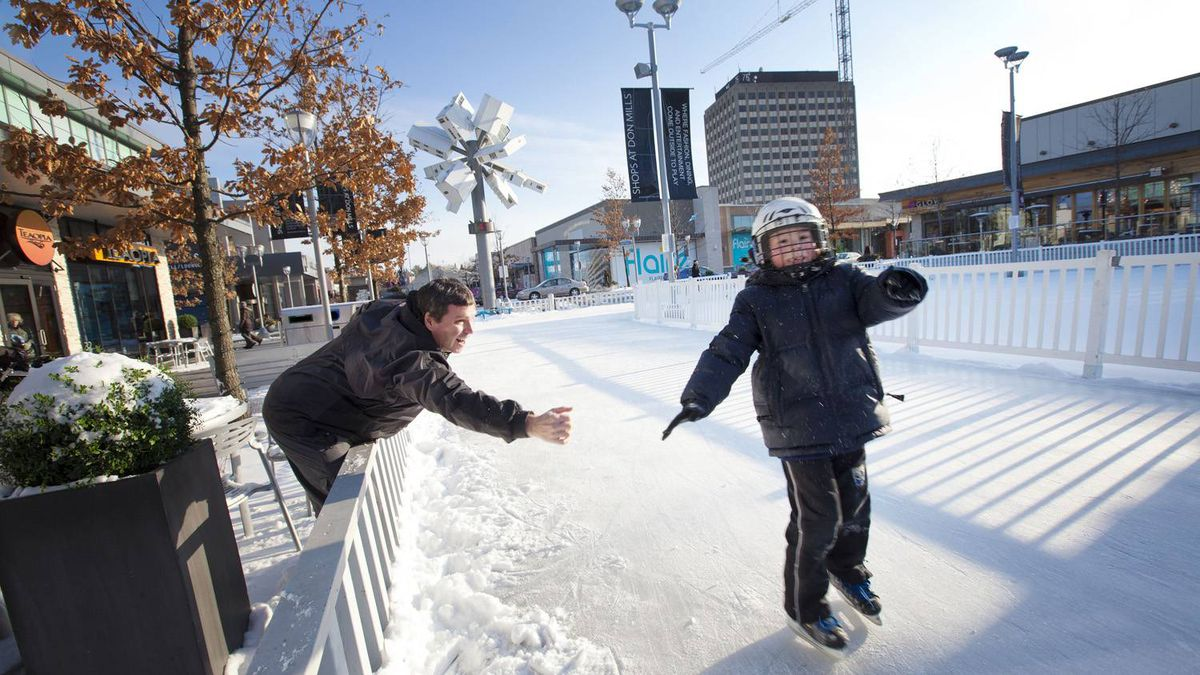 The Skating Oval, an free outdoor rink Cadillac Fairview built in 2009, sets the Shops at Don Mills in Toronto apart from other malls. 'Our slogan is 'a breath of fresh air,' and not every mall can offer a skating rink,' marketing manager Lauren Genz says.