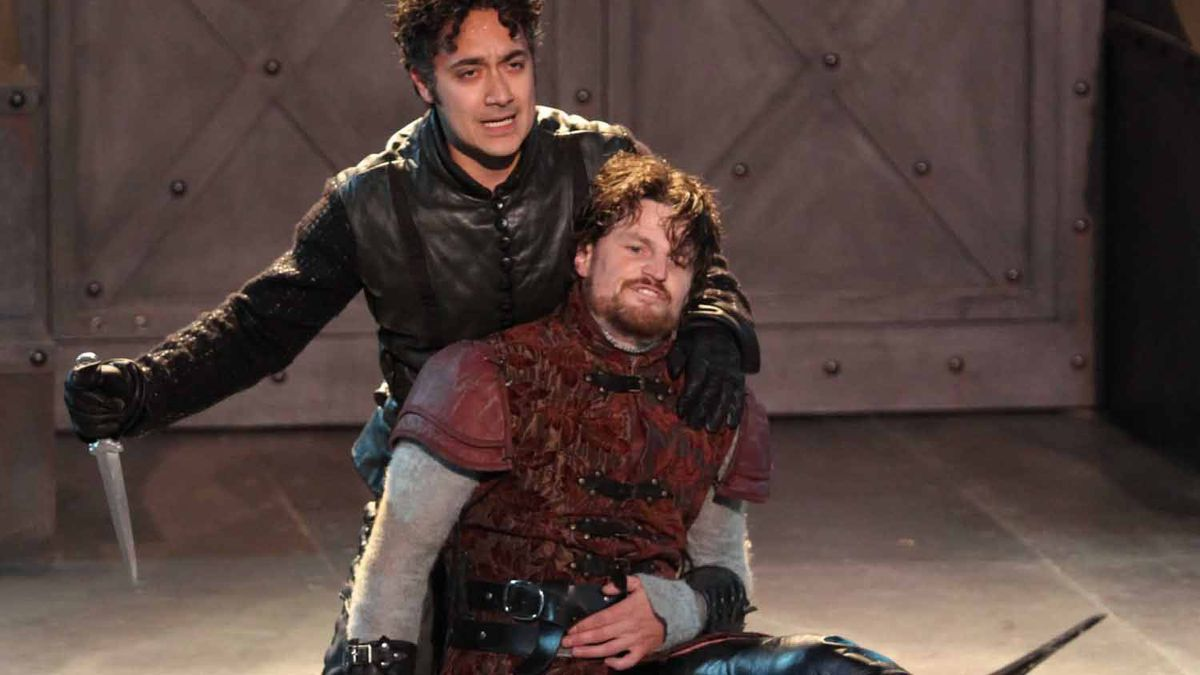 Prince Hal (Alessandro Juliani) fights with Hotspur (Bob Frazer) in FALSTAFF at Bard on the Beach Shakespeare Festival 2010.