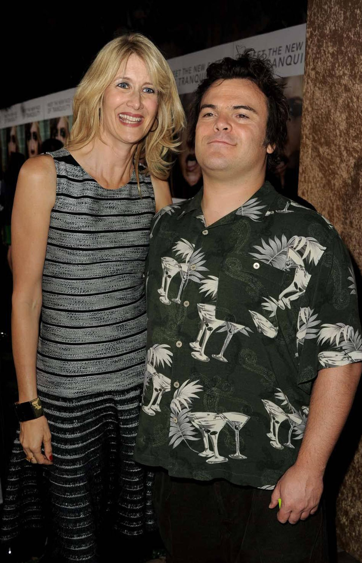 """Laura Dern scratches a spot Jack Black couldn't quite reach at the premiere of HBO's """"Enlightened"""" in Los Angeles last week."""