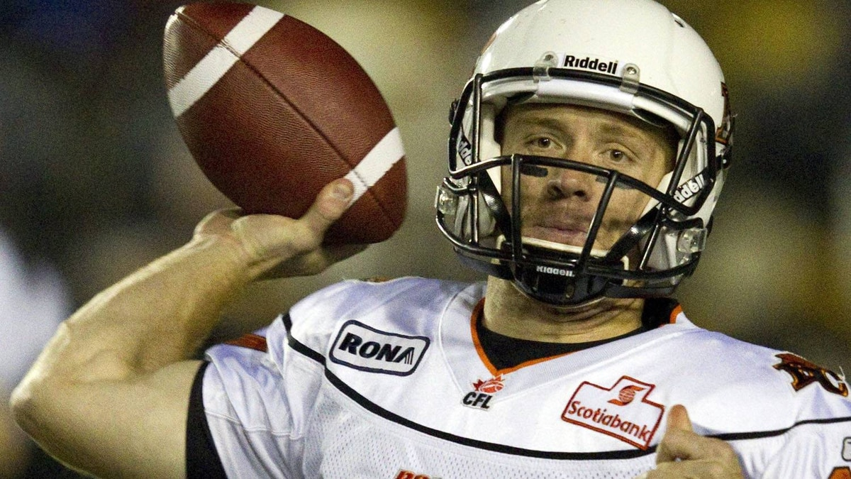 B.C. Lions quarterback Travis Lulay launches a pass against the Hamilton Tiger-Cats during first half CFL action in Hamilton, Ontario on Saturday October 22, 2011. THE CANADIAN PRESS/FRANK GUNN