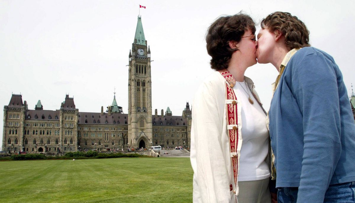 Decision of Court of Appeal for Ontario finding common law definition of marriage (one man and woman) violated Section 15 of Charter of Rights and Freedoms Same sex couple Heather Gass (right) and Lisa Lachance share a moment outside Parliament Hill in Ottawa Tuesday, June 10, 2003 following a news conference regarding the Ontario Court of Appeal judgment on same-sex marriage.