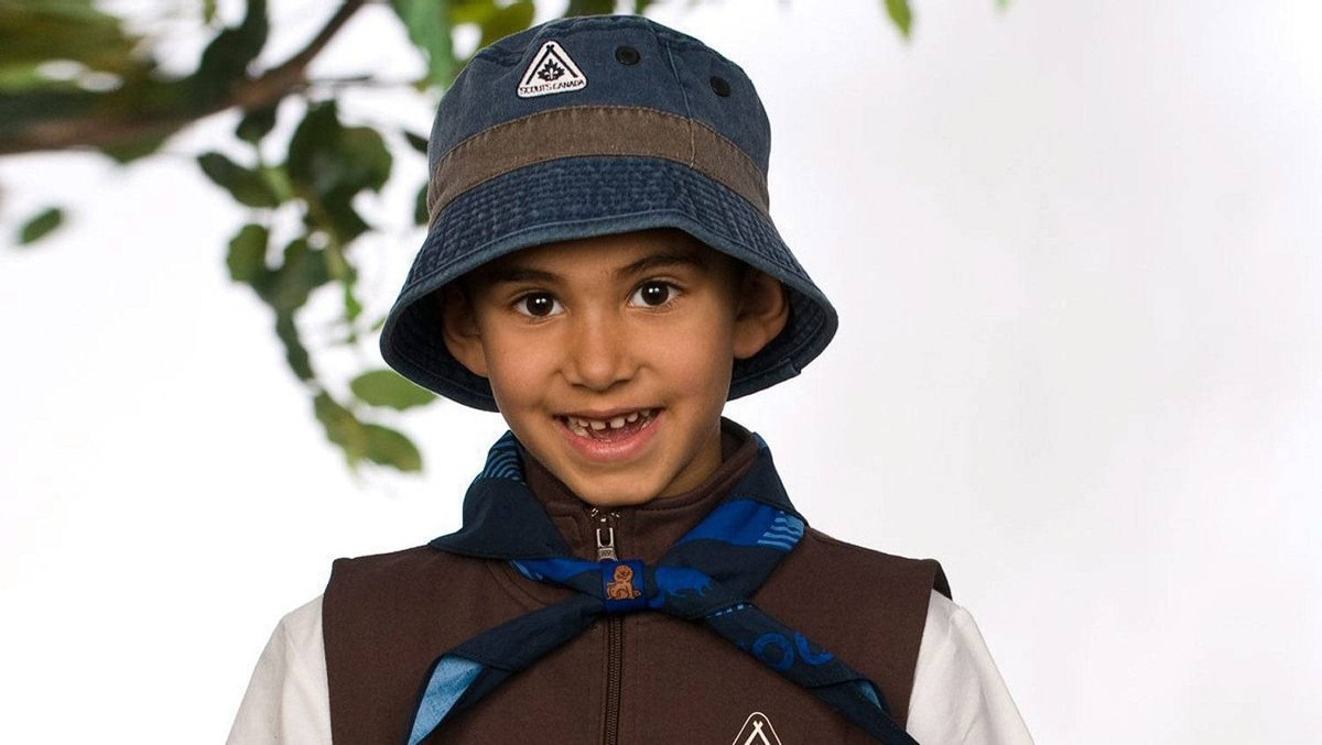 Riaz Patel models the new Scouts Canada Beaver Scout uniform in this photo released on Friday March 25, 2011.