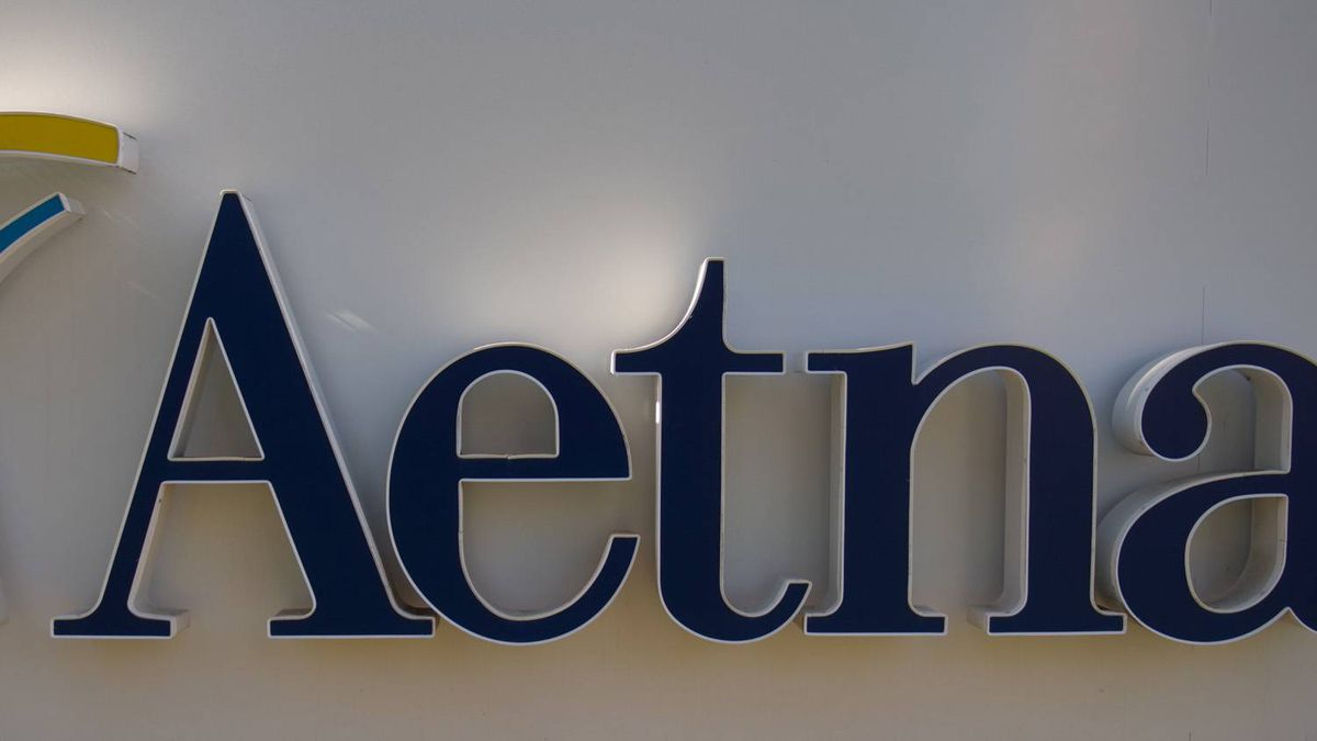 A sign for the Aetna insurance is seen in a Hartford, Conn.