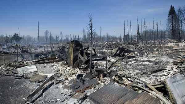 A massive forest fire stoked by strong winds burnt through the southeast of Slave Lake, Alberta on May 16, 2011. Hundreds of homes were reported lost to the fire.