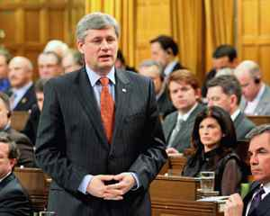 Prime Minister Stephen Harper speaks during Question Period in the House of Commons on April 14 , 2010.