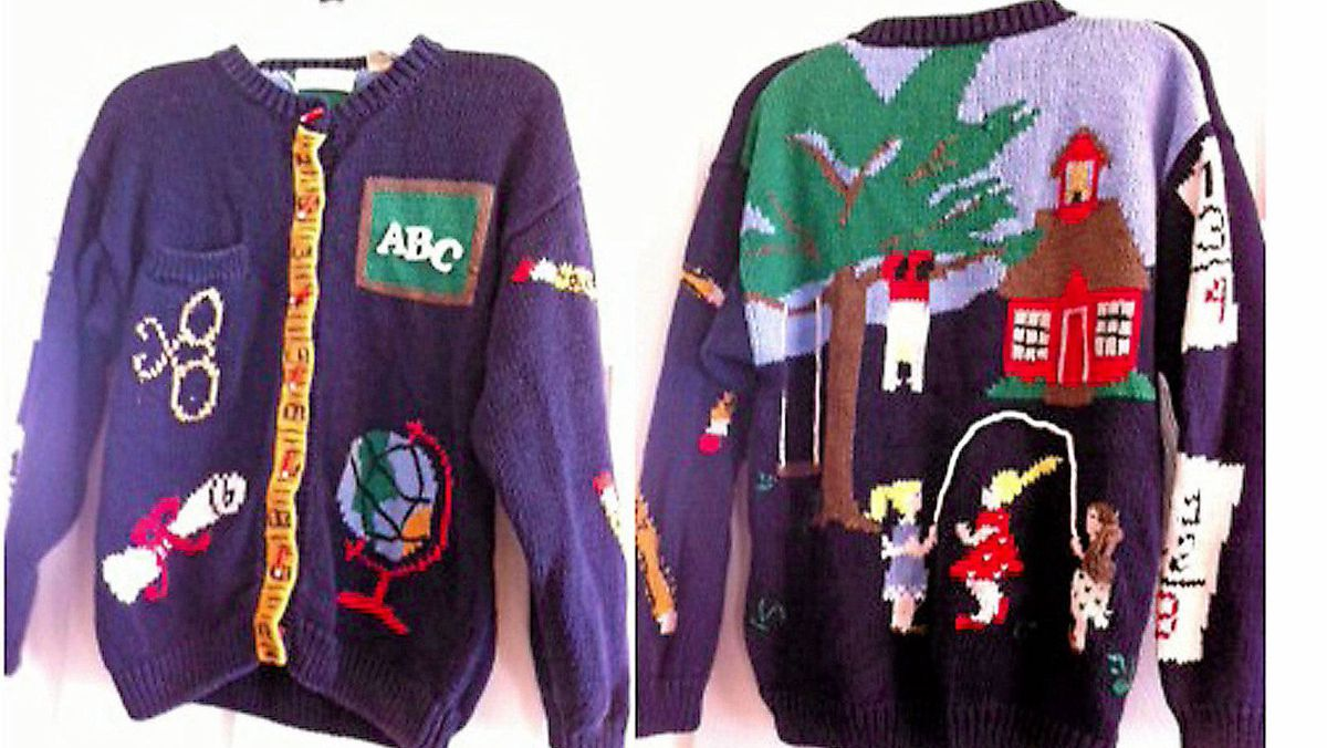 A mother and daughter were glad grandma wasn't around when they opened their Christmas sweaters - they burst into laughter with tears running down their faces.