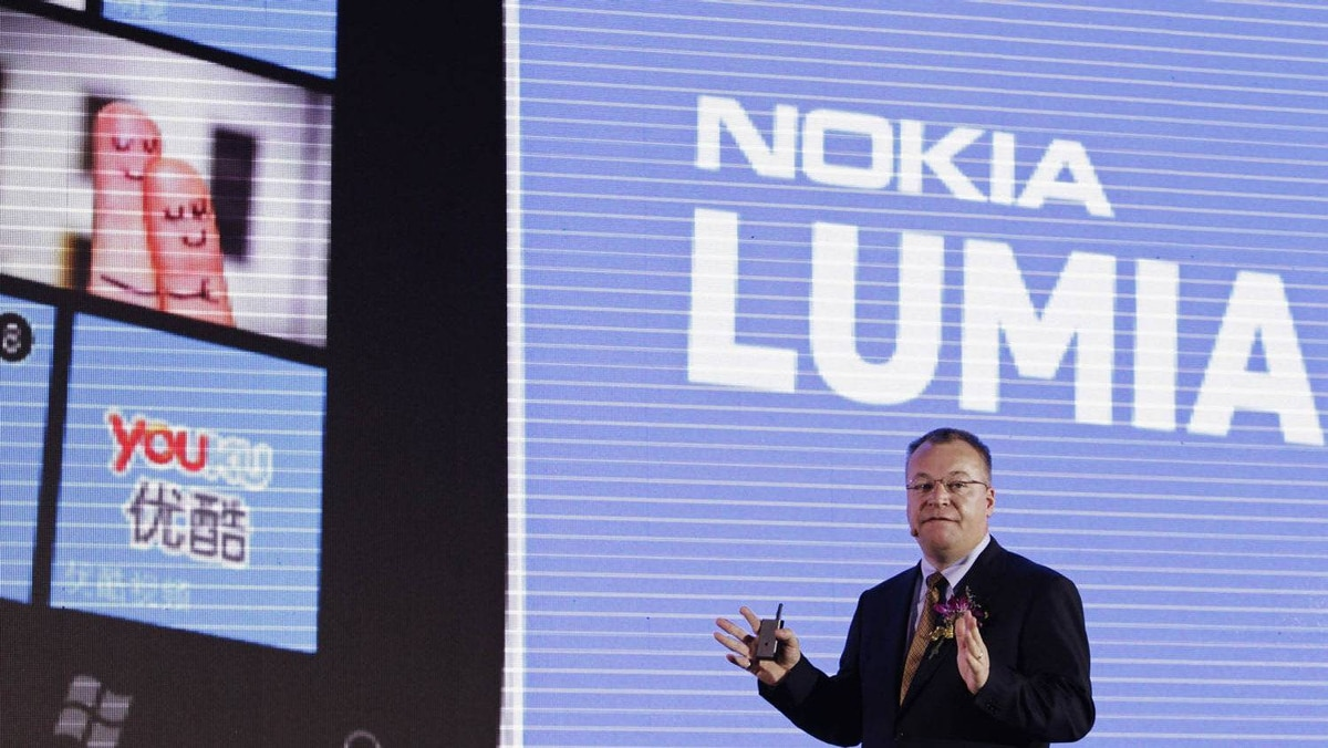 Nokia's President and CEO Stephen Elop gestures as he speaks during a news conference for the launch of the new Nokia Lumia products in Beijing, March 28, 2012.