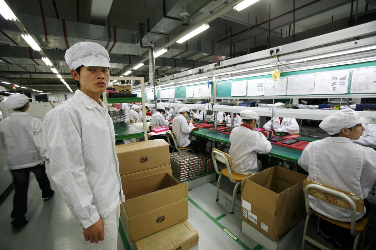 A Foxconn factory in the township of Longhua: Foxconn is China's biggest private-sector employer and Apple's main contract manufacturer.
