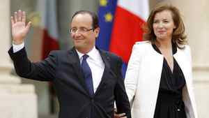 France's new President Francois Hollande and his companion Valerie Trierweiler leave the Elysee Palace after Mr. Hollande took power in Paris, May 15, 2012.