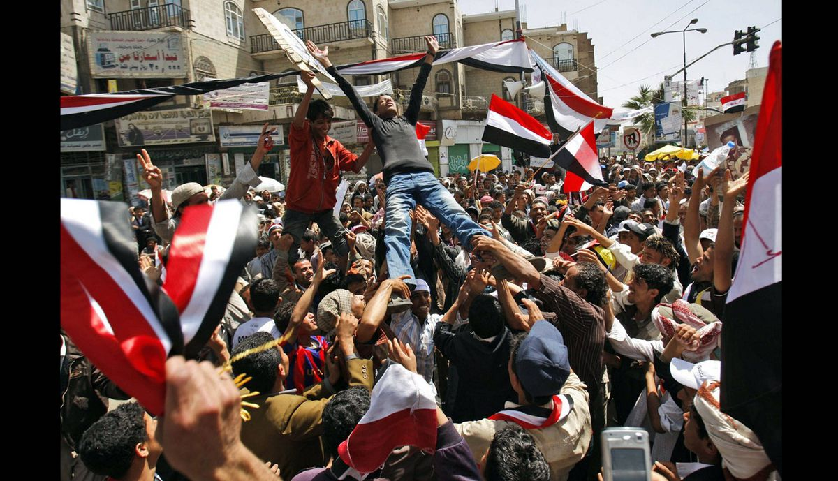Anti-government protestor attend a demonstration demanding the resignation of Yemeni President Ali Abdullah Saleh, in Sanaa, Yemen, March 3, 2011.