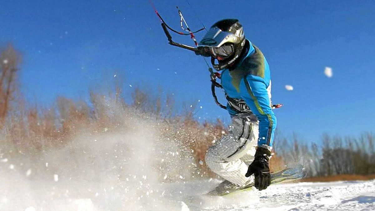 Snowkiting and pictured is Paul Berube the owner of PBKiteboarding