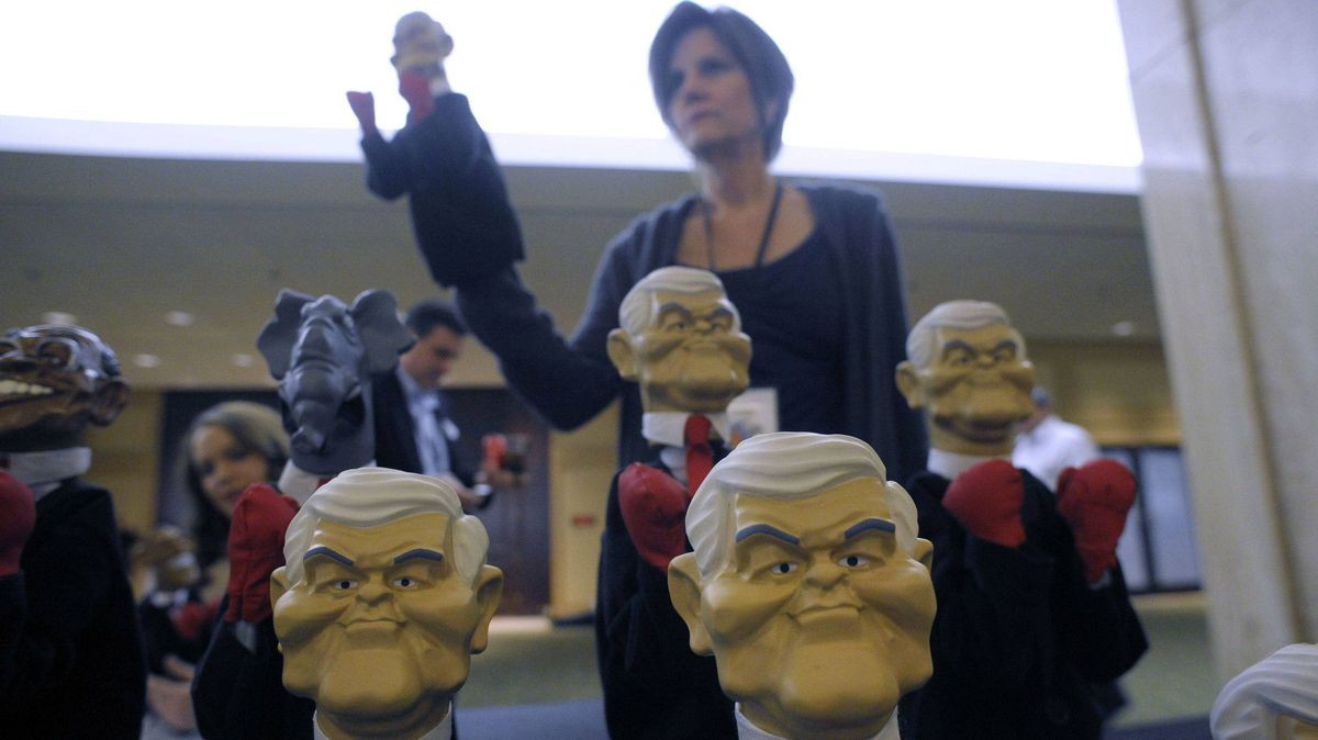 A vendor sells puppets of U.S. Republican presidential candidate Newt Gingrich at his party in Atlanta on Super Tuesday, March 6, 2012.