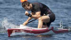 Canada's Mark Oldershaw celebrates after winning his heat in the C1 500m semi-final at the 2009 ICF Canoe Sprint World Championships on Lake Banook in Dartmouth, N.S. on Friday August 14, 2009.