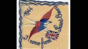 Embroidered souvenir handkerchiefs -- like this one, which Mr. Hoffman sent home to his wife -- were already being produced while the war was still on.