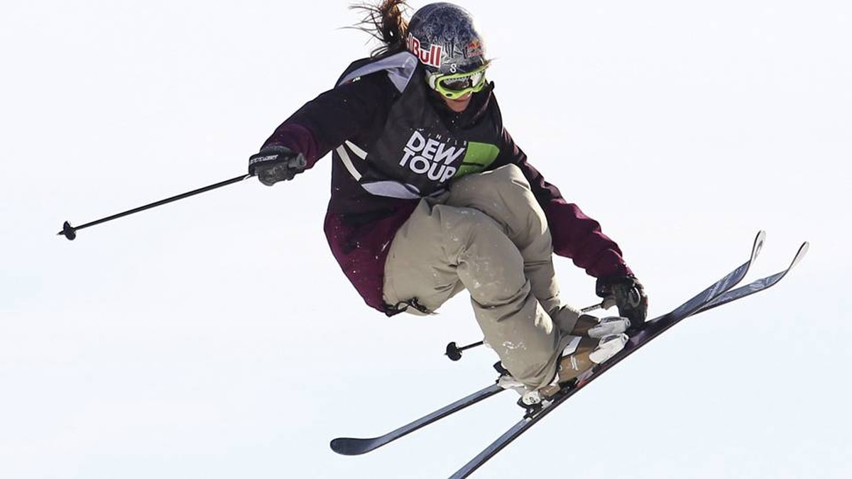 Kaya Turski of Montreal jumps to first place in slopestyle finals action at the Winter Dew Tour in Killington, Vermont, Sunday, Jan. 22, 2012.