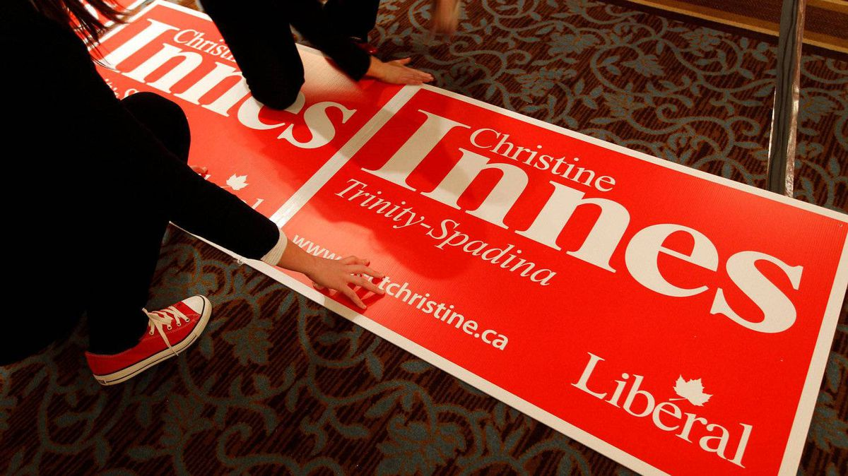 Supporters prepare signage at the Grand Ballroom where Michael Ignatieff and Liberal supporters will gatherin Toronto on May 2, 2011.