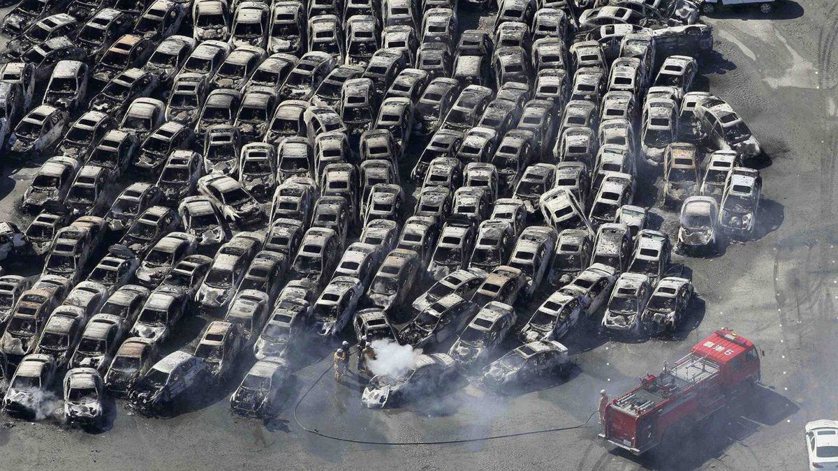 Cars that were swept by a tsunami in Hitachi City, Ibaraki Prefecture on Saturday.