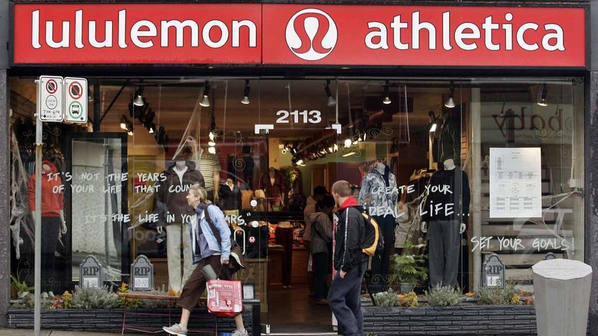 A woman leaves the Kitsilano, B.C. Lululemon store in Vancouver Thursday, October 18, 2007.
