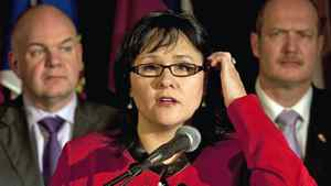 Federal Health Minister Leona Aglukkaq, fields questions after meeting with her provincial and territorial counterparts in Halifax on Nov. 25, 2011.