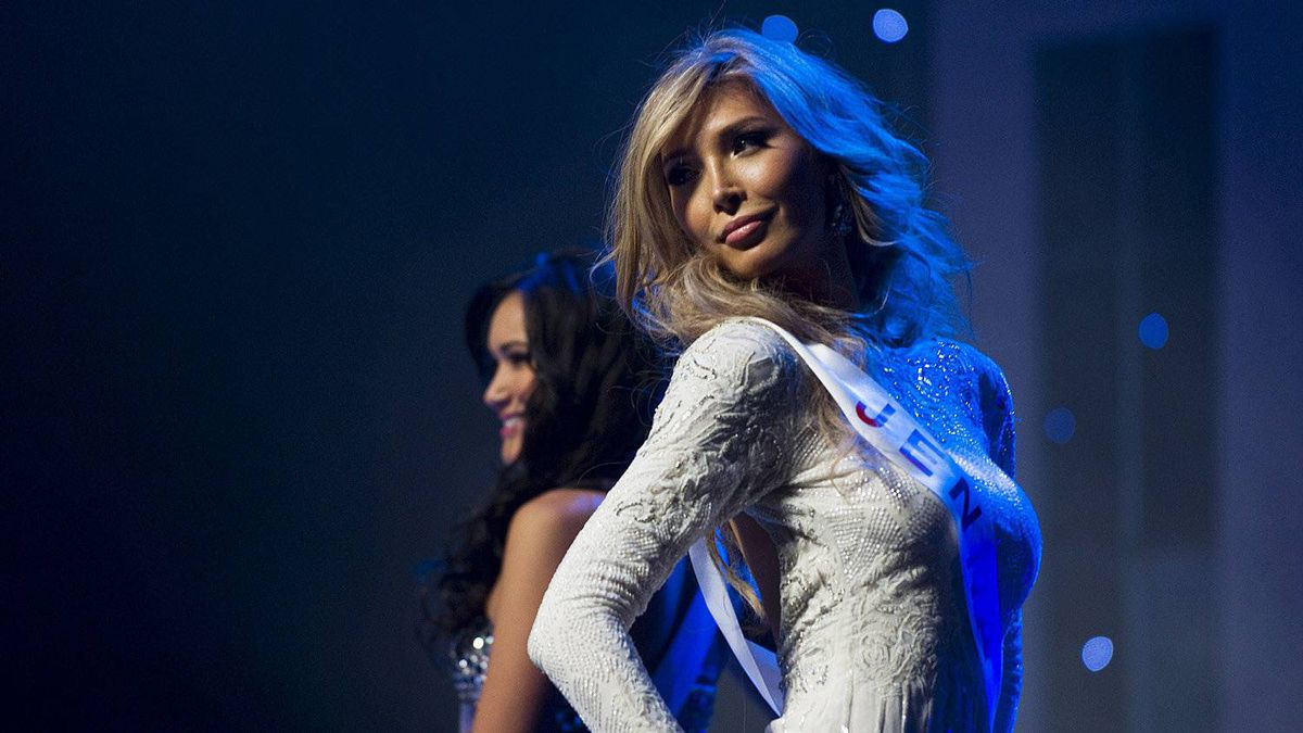 Jenna Talackova, the first transgendered Miss Universe contestant, is seen on stage during the preliminary round of the Miss Universe Canada contest in Toronto on Thursday May 17, 2012.