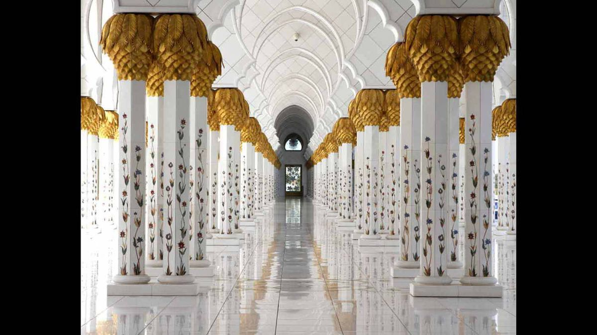 I took this photo of repeating columns inside the stunning Sheikh Zayed Mosque in Abu Dhabi