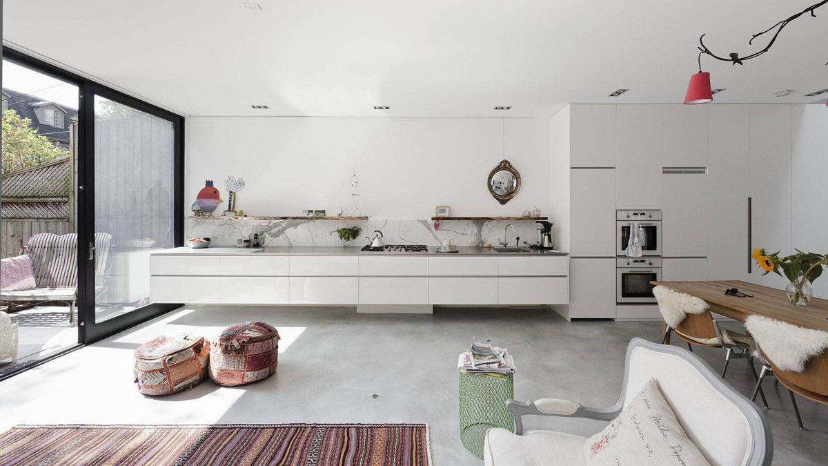 "The kitchen in the new addition of Janus House, designed by Carol Moukheiber and Christos Marcopoulos of Studio NMinusOne for Dutch-born owner Ghislaine Beckers. 'When you build something new, you build something that looks contemporary,"" Ms. Beckers said."