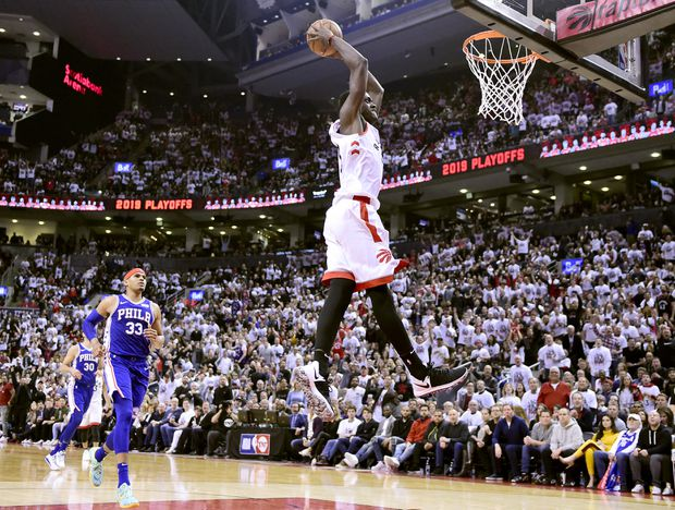 Kawhi Leonard scores 45 points to lift Raptors to 108-95 victory over 76ers in Game 1
