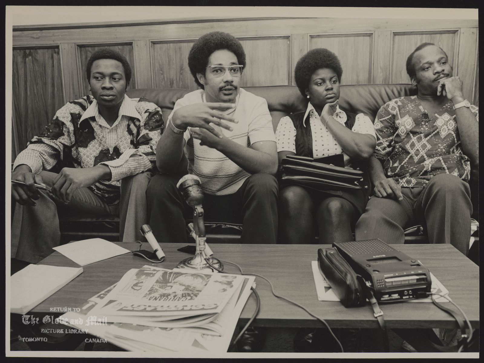 Horace CAMPBELL Toronto. Director of Black Education Project (From left to right: Horace Campbell, Harold Hoyte, Editor of Contrast, Joyce Squire Co-ordinator of Black Education Project and Dudley Laws, President of Universal Negro Improvement Assoc. at Black Peoples Conference.)