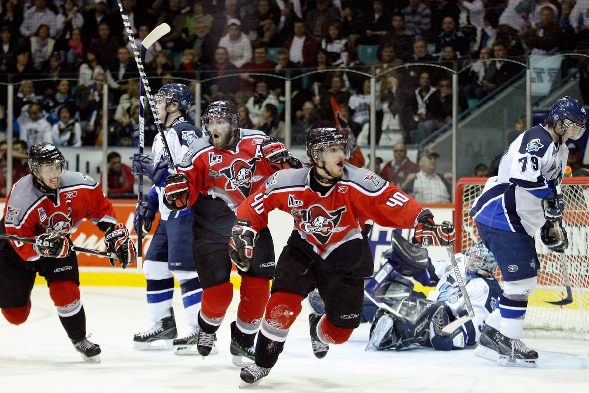 Gabriel Dumont of the Drummondville Voltigeurs celebrates his game-winning goal in overtime against the Rimouski Oceanic on Wednesday night at the Memorial Cup.