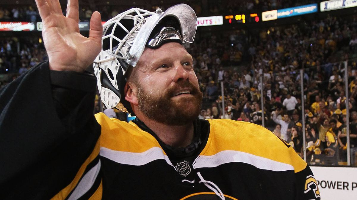 Tim Thomas #30 of the Boston Bruins celebrates after they defeated the Tampa Bay Lightning 1 to 0 in Game Seven of the Eastern Conference Finals during the 2011 NHL Stanley Cup Playoffs at TD Garden on May 27, 2011 in Boston, Massachusetts. (Photo by Elsa/Getty Images)