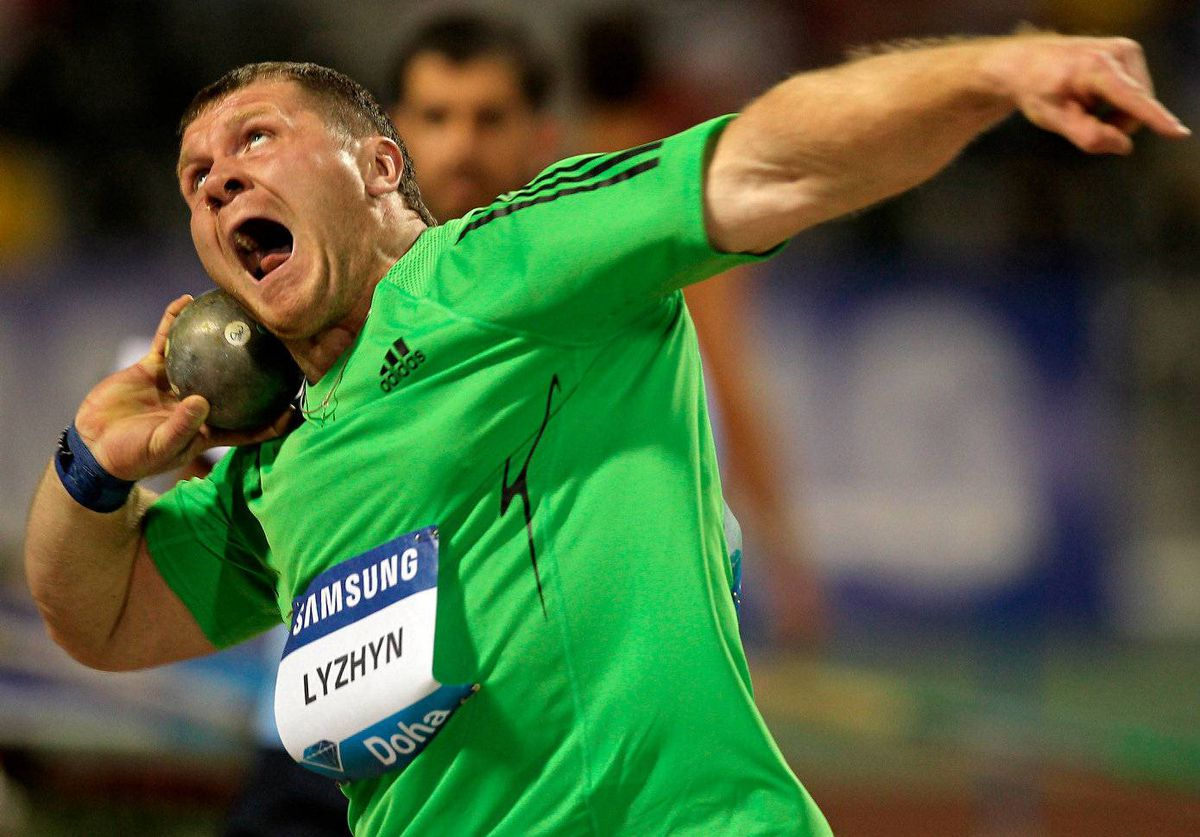 Pavel Lyzhyn of Belarus competes in the men's shot put at the IAAF Diamond League in Doha on May 6, 2011.