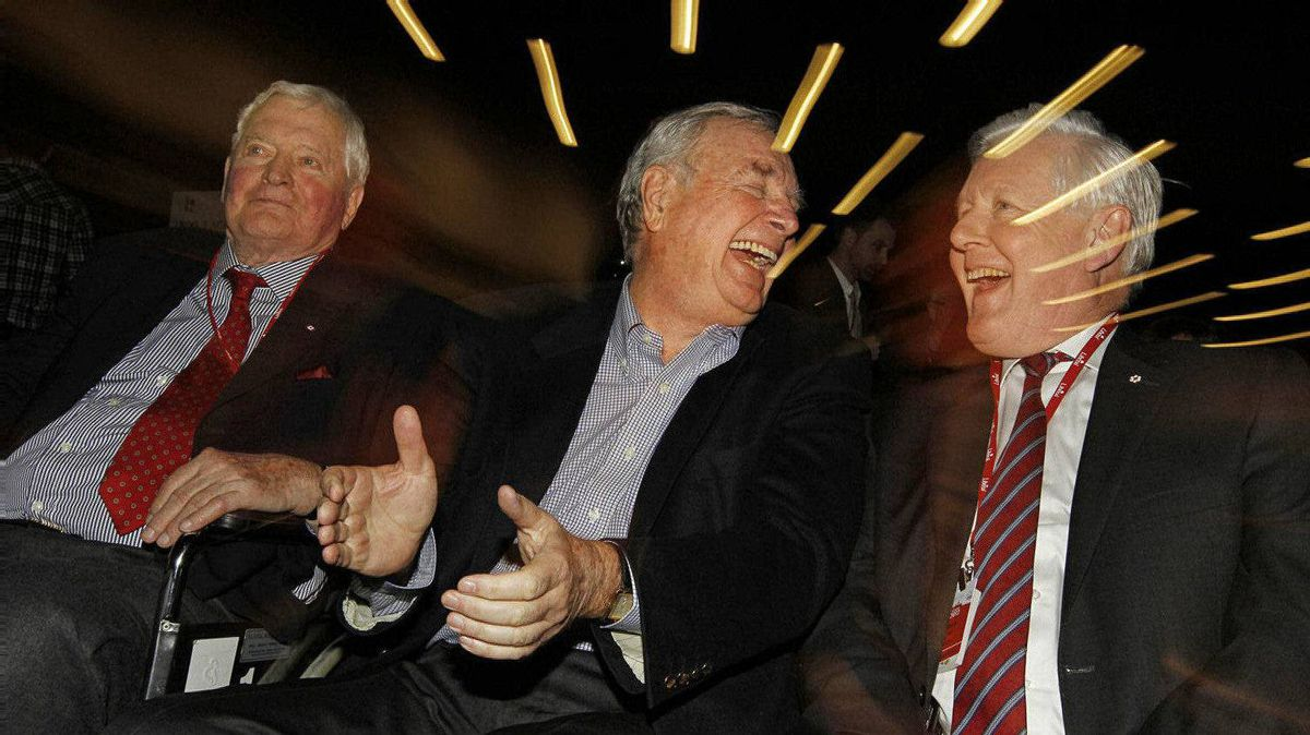 Liberals, left to right, John Turner, Paul Martin, and Bob Rae laugh at the beginning of the Welcoming Ceremony and Candidates Debate at the Liberal Convention in Ottawa on January 13, 2012. Peter Power/The Globe and Mail