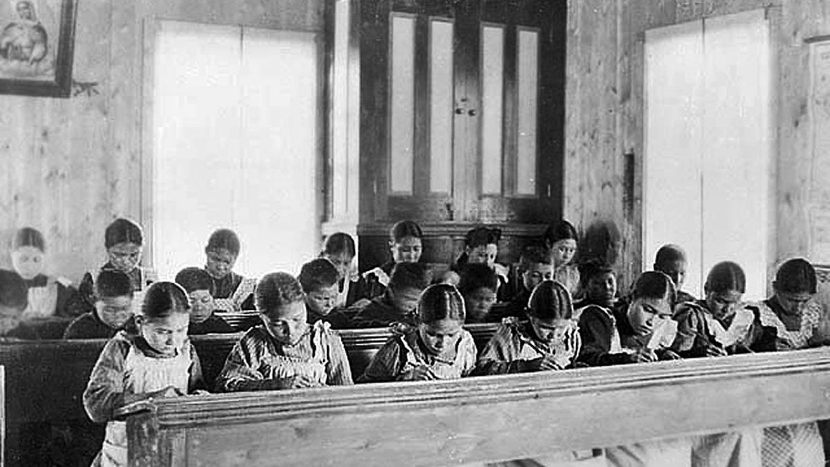 Study time at an Indian Residential School in Fort Resolution, Northwest Territories, date unknown. Library and Archives Canada