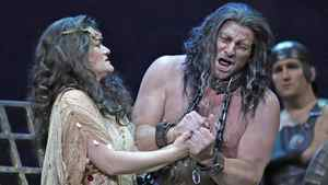 Gregory Dahl resists the flirtations of Mlada Khudoley in the Manitoba Opera's production of Salome.