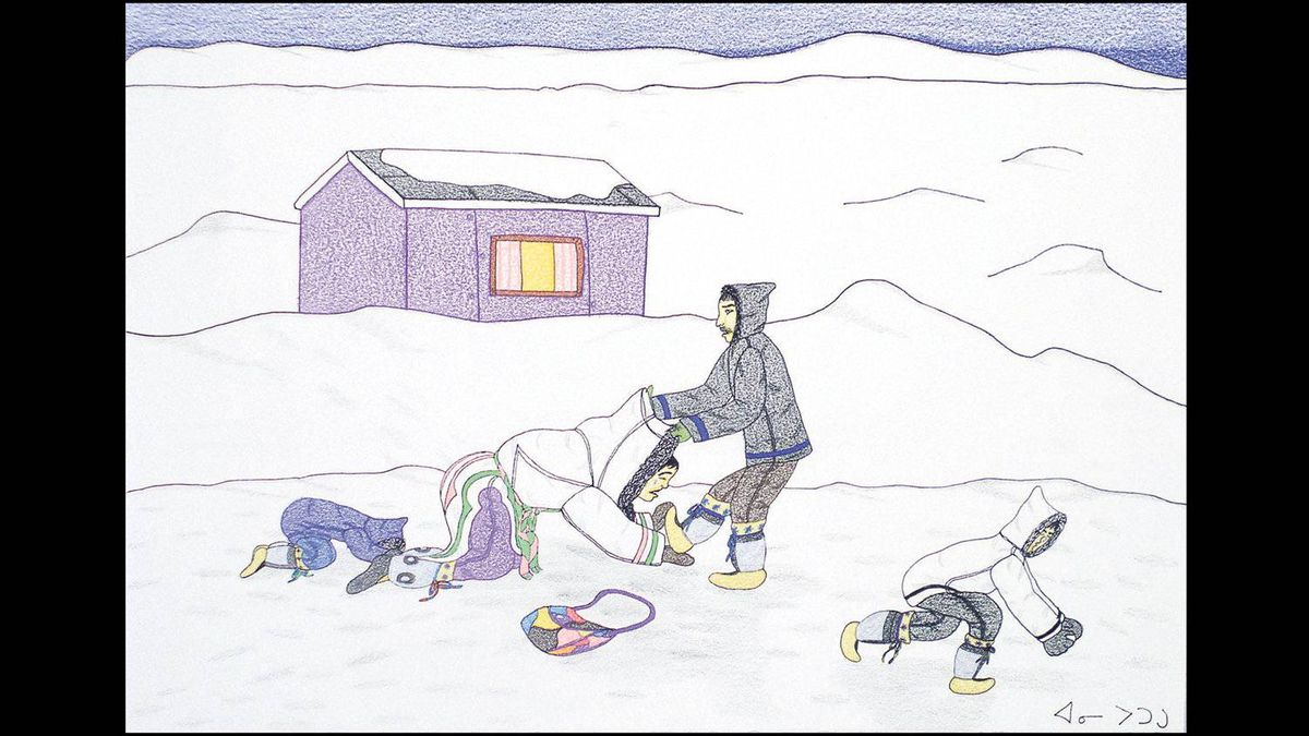 A MAN ABUSES HIS WIFE Cape Dorset, 2004 Coloured pencil, ink 13.75 x 20""