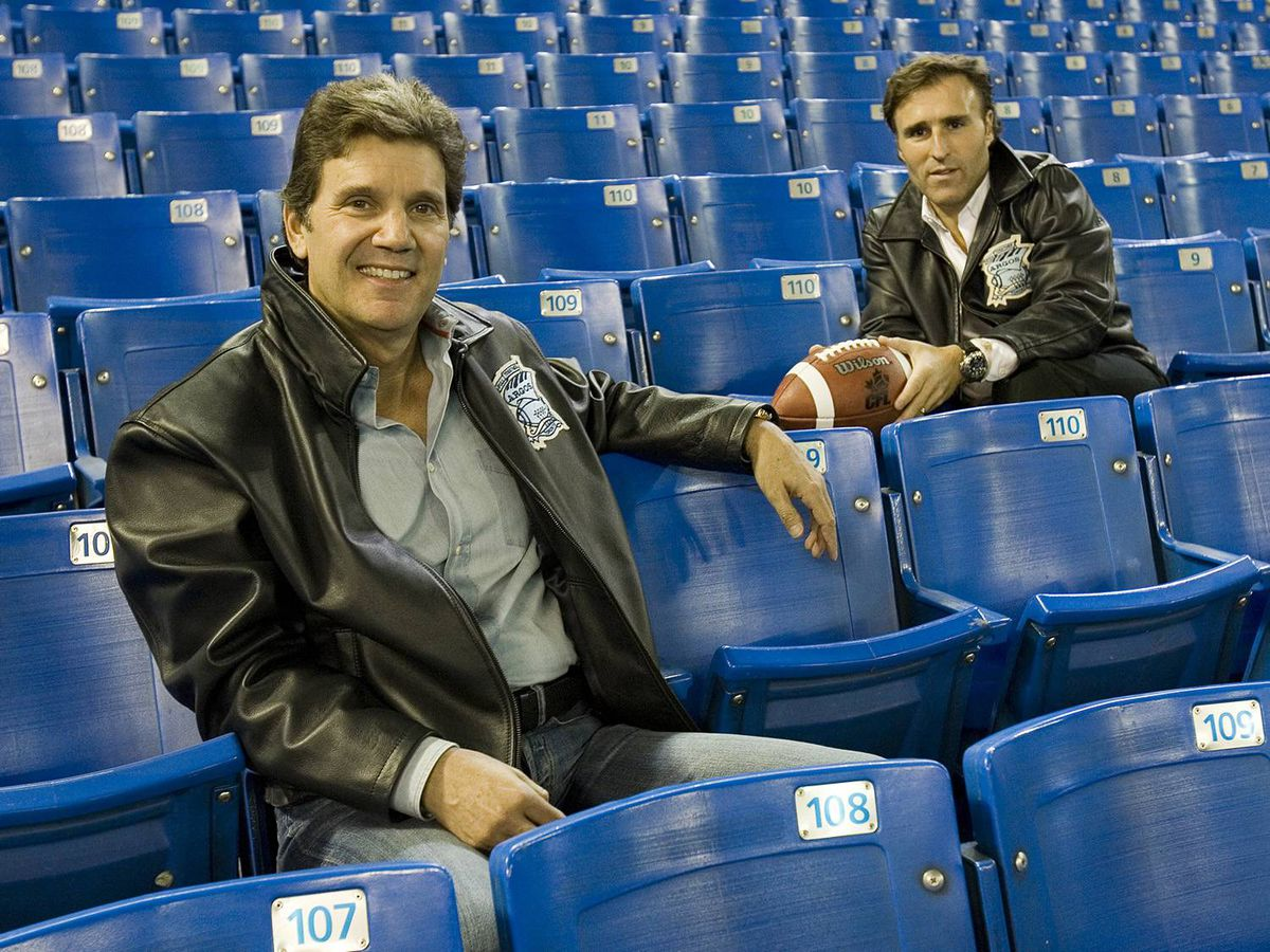 Toronto Argonaut owners Howard Sokolowski, left, and David Cynamon sit inside the Rogers Centre in Toronto on Saturday, November 3, 2007.