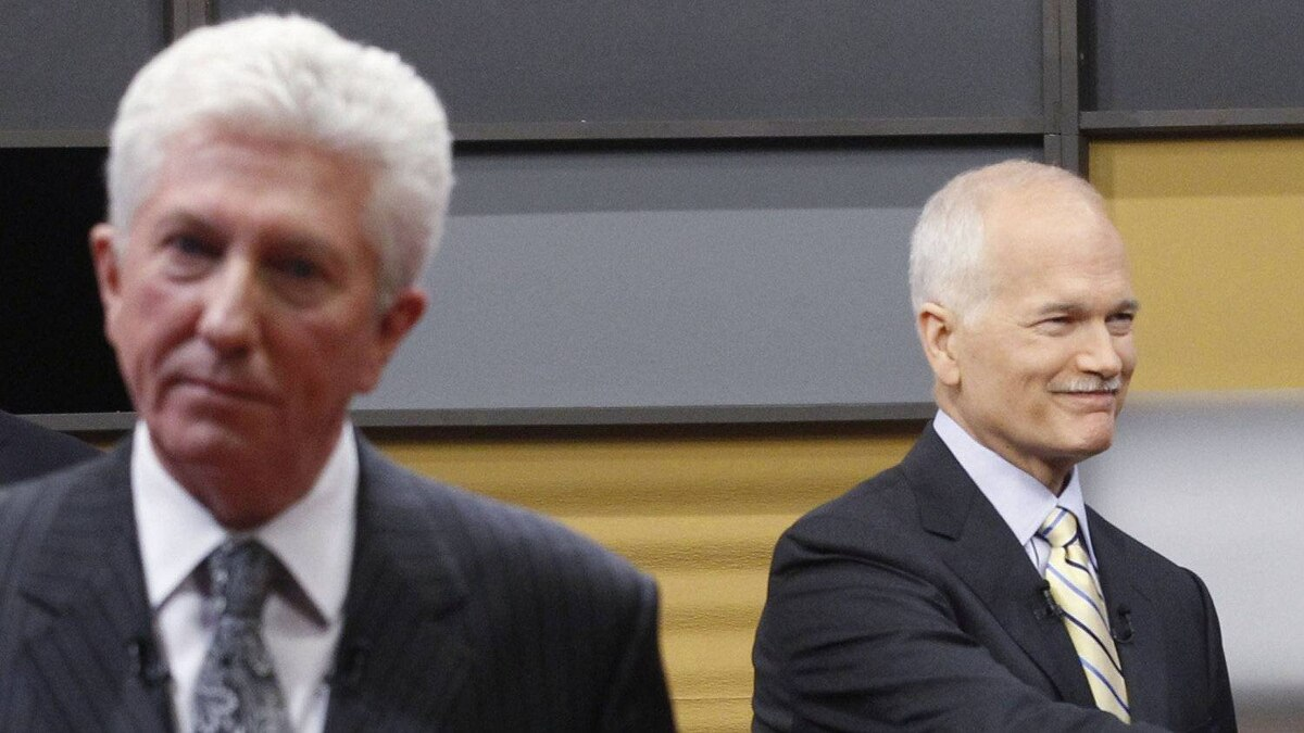 Bloc Leader Gilles Duceppe, left, and NDP Leader Jack Layton at the 2011 leaders' debates in Ottawa.