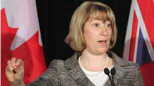 Ontario Education Minister Laurel Broten addresses a news conference in Toronto, Monday, April 9, 2012. With contracts expiring in August, Broten appealed to elementary school teachers to return to a provincial discussion table to help set the framework for negotiations.