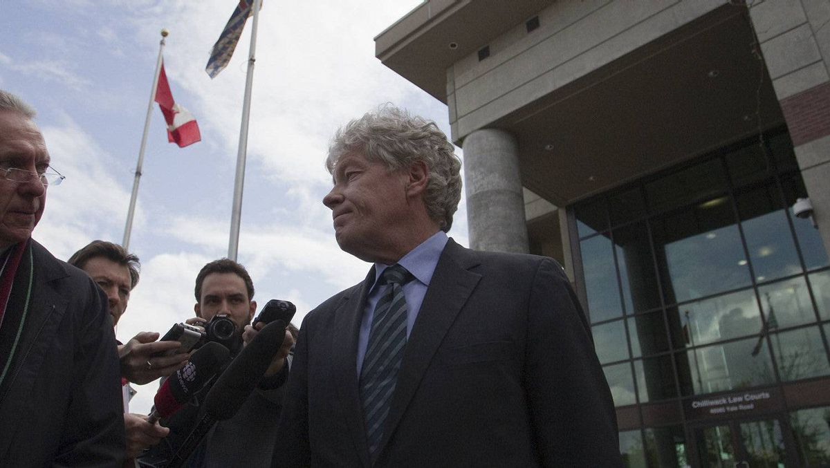 Lawyer Larry Cruickshank is pictured outside of the Chilliwack Law Courts after his accused client William Orders bail hearing was postponed until Friday, May 4 in Chilliwack, British Columbia on May 2, 2012. William Orders has been accused of Obstruction of Justice after a fatal hang-gliding accident over the weekend.