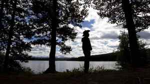 Former Xeni Gwet'in First Nations Chief Roger William stands at the edge of Fish Lake September 10, 2010 near Williams Lake, B.C. William and other members of his first Nation are trying to stop the Fish Lake from becoming a tailings pond.