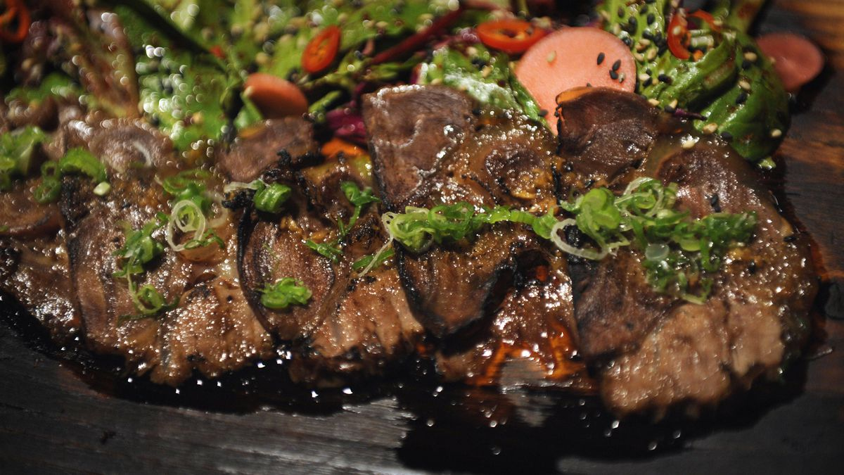 Soo yook, a 48-hour-braised beef shank dish, prepared at Swish