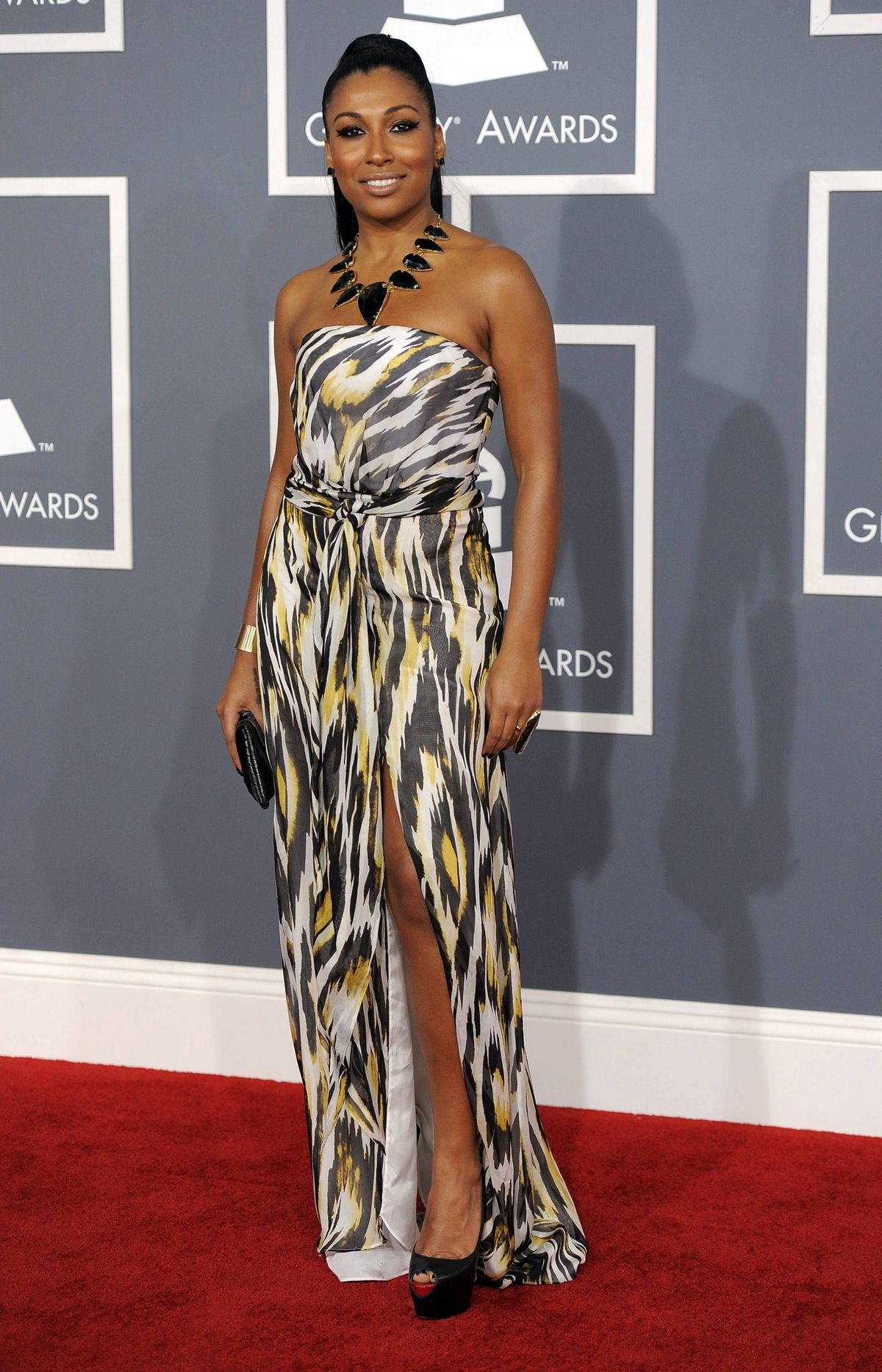 Melanie Fiona arrives at the 54th annual GRAMMY Awards on Sunday, Feb. 12, 2012 in Los Angeles.