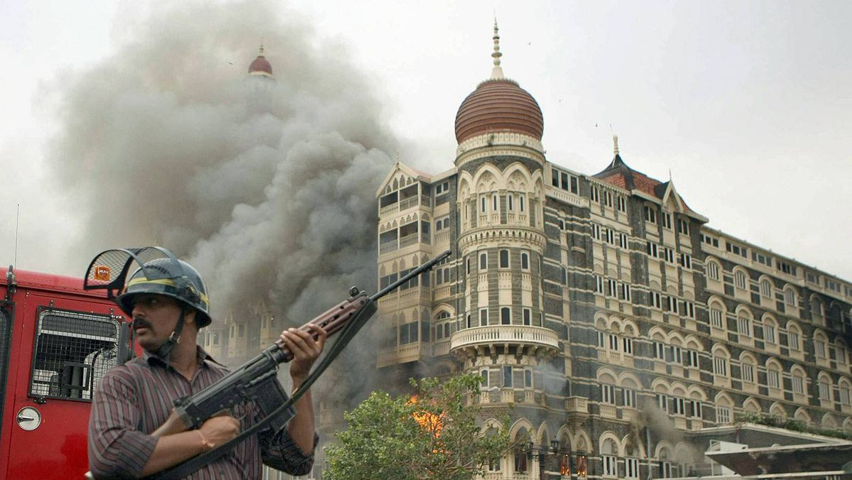 The Taj hotel, under siege, in this 2008 file photo of the Mumbai massacre.