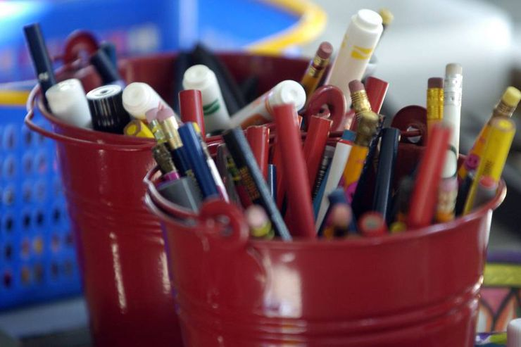Pencils, markers and pens in a bucket on Miss Forbes' desk in her kindergarten class at John Ross Robertson Public School in North Toronto.