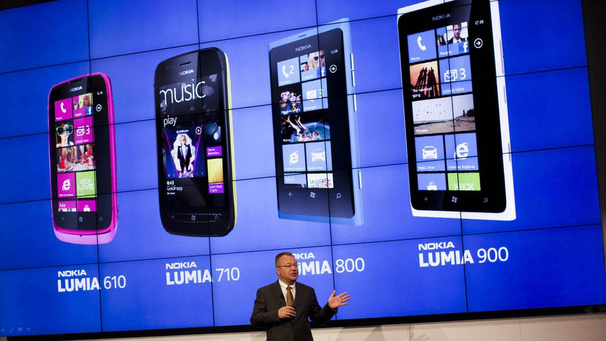 The chief executive officer of Nokia Corporation Stephen Elop, talks to the journalists during a press conference at the Mobile World Congress in Barcelona, Spain, Monday, Feb. 27, 2012. Struggling cell phone maker Nokia Corp. has unveiled two new handsets that it hopes will revive its fortunes at the start of the world's largest mobile phone trade show on Monday.