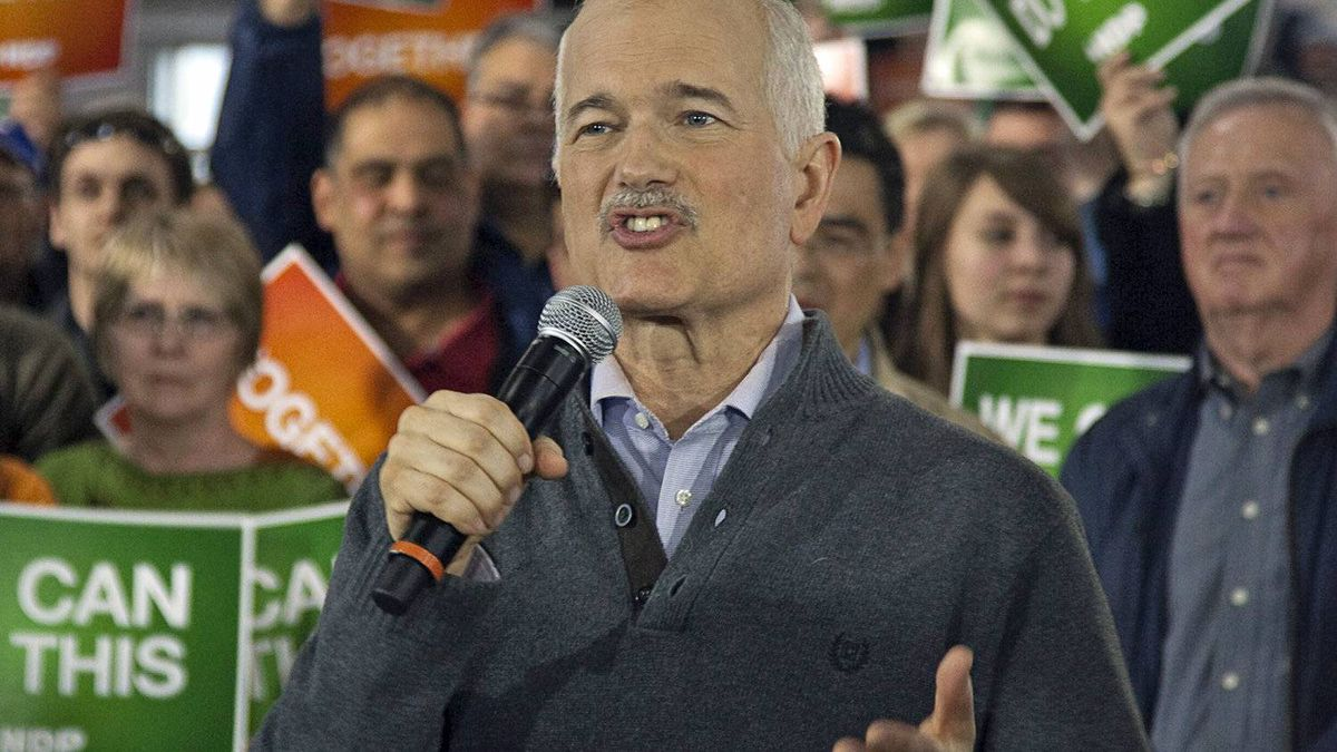 NDP Leader Jack Layton addresses the crowd at a campaign rally in Edmonton on April 27, 2011.